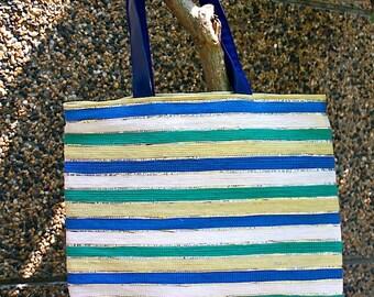 ON SALE! Multi-Color Recycled Shoulder Bag / Upcycled Plastic Handbag / Eco - Friendly Shoulder Bag / Multicolored Striped Shoulder Bag