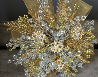 Gold and silver bridesmaids bouquet - winter wedding bouquet - Christmas wedding - New years eve celebration wedding.