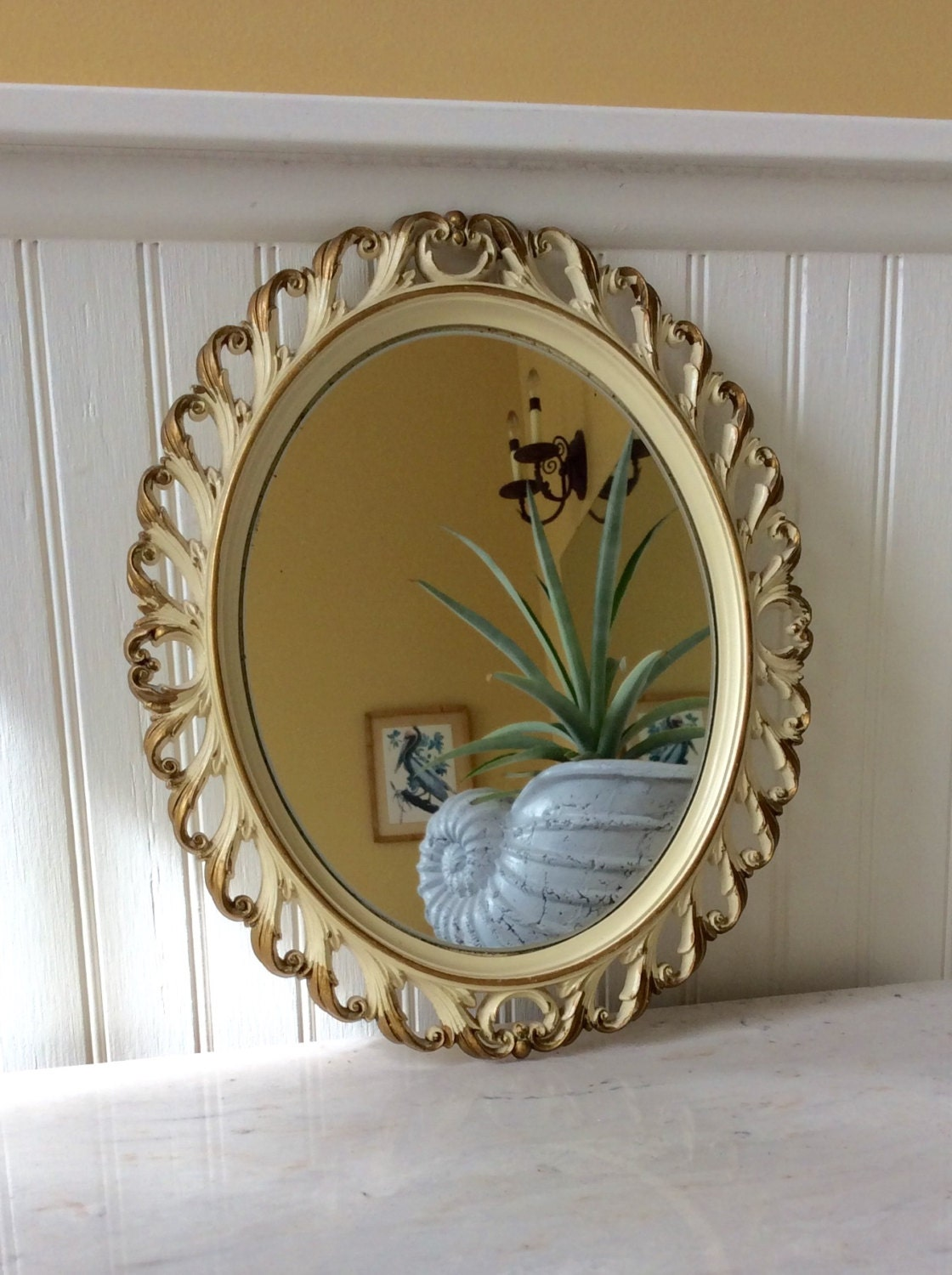 Sale vintage oval ornate white gold syroco mirror for White and gold mirror