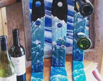 Mountain Mural Ski Wine Racks