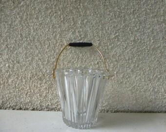VINTAGE ICE BUCKET on 1950, glass and metal, black bakelite
