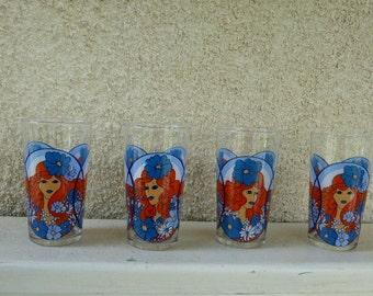 4 glasses, design psychedelic woman, vintage 1970