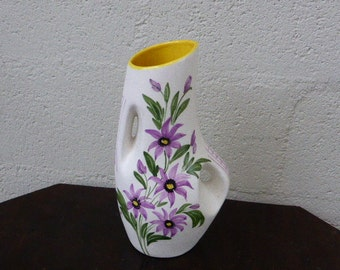 ceramic vase from vallauris south of france, , flower hand painted and signed and number