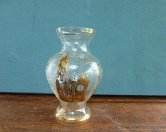"""Small VASE """"CHANTILLY"""" the CATHEDRAL, decorated with frost glass vintage 1950"""