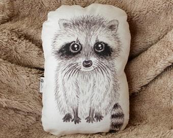 Raccoon pillow. Woodland nursery decor. Animal pillow. Kids room decor. Baby shower gift. Whimsical nursery decor. Raccoon soft toy decor.