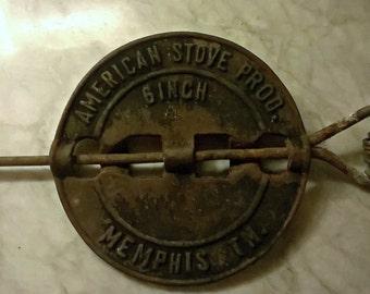 Antique Stove Damper, Rustic Farmhouse, Memphis TN, American Stove Prod, Architectural Salvage Iron, Industrial