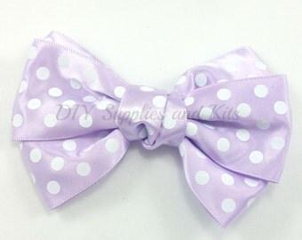 "4"" Lavender white polka dot satin bow, Satin bows, Headband bow, Polka dot bow, Lavender hair bow, Baby bows, hair bow supply"