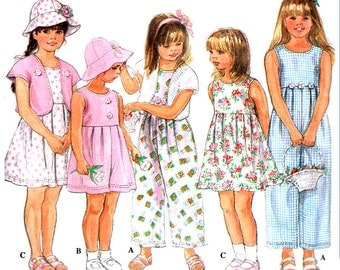 Simplicity Sewing Pattern 8928 Girls' Romper in two lengths, Dress, Bolero, Hat  Size:  AA  2-34  Used