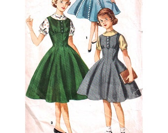 Simplicity Sewing Pattern 1291 Girl's Dress, Jumper, Blouse - estimated vintage 1950's  Size:  14  Used