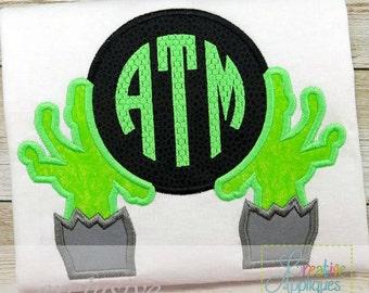 Zombie Monogram Halloween Digital Machine Embroidery Applique Design 4 Sizes, zombie applique, monogram applique, zombie embroidery