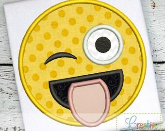 Emoji Joker Joking Silly Funny Goofy Tongue Machine Embroidery Applique Design 4 Sizes