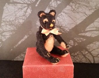 Halloween themed miniature needle-felted teddy bear