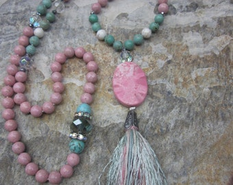 long beaded necklace tassel necklace Pink river stone white & turquoise stone beads country chic bohemian long beaded tassel necklace