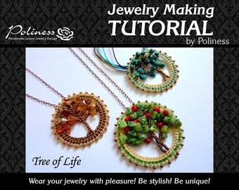 Step by Step - Tutorial - Jewelry making - Beaded Pendant - Beads making - Pattern - Beaded tree - Tree of life - PDF - Handmade jewelry