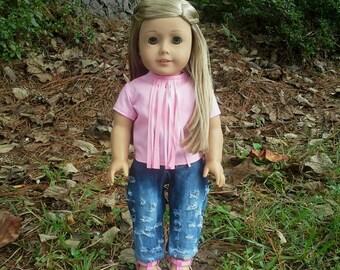 american girl doll pink fringe top
