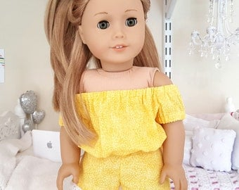 18 inch doll yellow romper