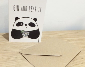 Gin And Bear It Card - Birthday, Valentines, Father's Day, Mother's Day
