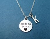 Personalized, Letter, Initial, You're my person, Youre my person necklace, Grey's Anatomy, Love, Heart, Gift, Silver, Necklace, Jewelry