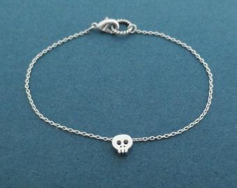 Tiny, Cute, Skull, Gold, Silver, Bracelet, Skeleton, Jewelry, Modern, Minimal, Birthday, Friendship, Graduation, Gift, Jewelry