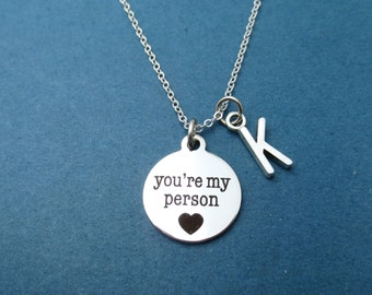 Personalized, Letter, Initial, You're my person, Heart, Nekclace, Grey's, Love, Jewelry, Birthday, Lovers, Best friends, Gift, Jewelry