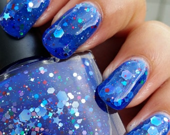 Yeah Blue! Not Monday...~Single Ladies Indie Nail Polish Blue Glitter Jelly 10ML