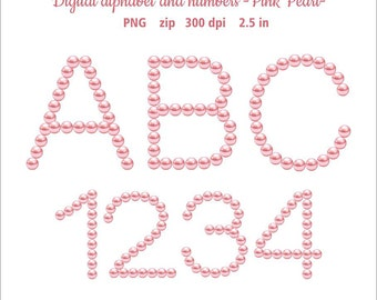 Pearl Digital alphabet clip art. Letters and numbers pink pearl clipart. Alphabet rose Pearl. Instant download in PNG format. Business use.