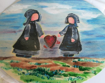 Amish girls painting, signed design. Acrylic on wood plaque ready to hang.  10 by 8 inches measured across the middle, 3/8 inches thick pine