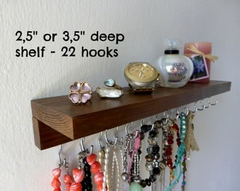 Rustic necklace organizer with metal hooks - jewelry storage - made by solid pine wood - many colors available