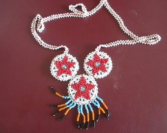 Native American, Beaded Neckace, Hand Sewn Leather Backing. Precious - Beautiful - Handmade, One of a Kind