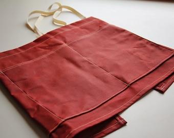 tobasco red waxed canvas gardeners apron - gardening apron - waxed canvas apron