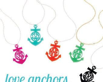 Anchor Interlocking or Circle Monogram Acrylic Necklace  - Items Come Boxed for Gift Giving!