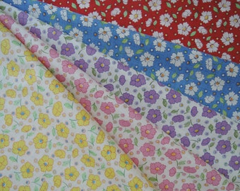 Bundle of 1/8 of 2015 Lecien Retro 30's Daisies Fabric in 5 Colorways. Made in Japan