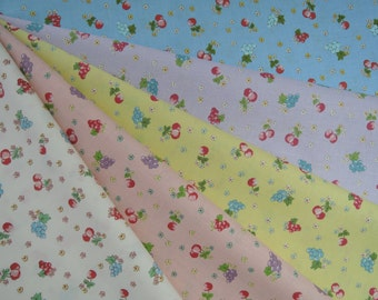 """Bundle of Yuwa Sunday 9am Cherries, Grapes and Floral Fabric in 5 Colorways. Approx. 9"""" x 22"""" Made in Japan"""