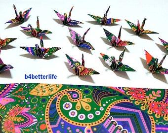 "100pcs Multi-colored 1.5"" Batik Design Origami Cranes Hand-folded From 1.5""x1.5"" Square Paper. (WR paper series). #FC15-43."