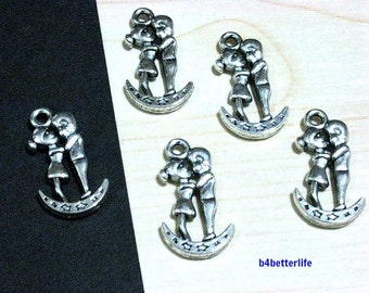 "Lot of 20pcs Double Sided Antique Silver Tone ""Love On The Moon"" Metal Charms. #SW1270."