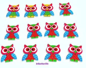 Pack of 12pcs 2-holes Wooden Buttons For Crafting, Knitting, Scrapbooking. #Owl.