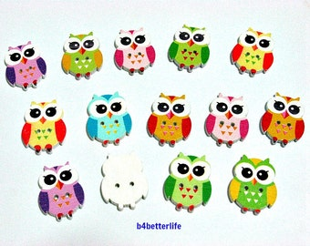 Pack of 14pcs Assorted Colors 2-holes Wooden Buttons For Crafting, Knitting, Scrapbooking. #Owl.