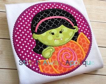 Vampire Girl Halloween Candy Patch Machine Applique Design