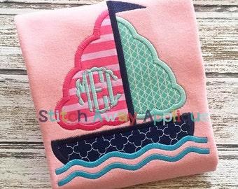 Girly Sail Boat Summer Machine Applique Design