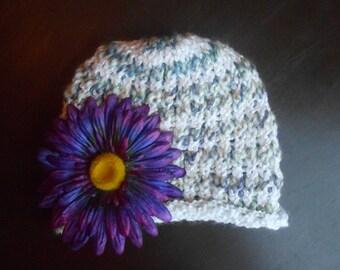 Handmade infant girl beanie hat with detachable flower clip