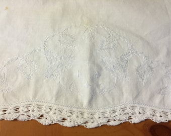 Vintage White Embroidered Pillowcase - Standard Size