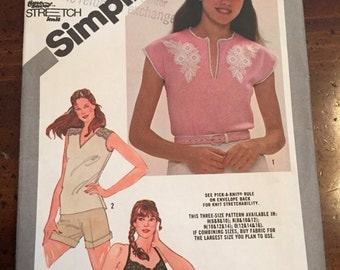 Simplicity 9942 Misses Pullover Tops, Size O, Size 12 - 16, UNCUT