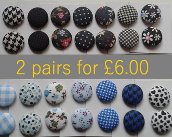 2 FOR 6 Fabric Button Earrings