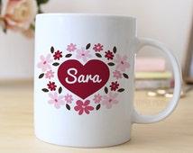 Personalized Mug - Heart Mug - Red & Pink Floral Coffee Mug