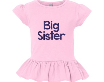 Big Sister Tshirt - Pink Ruffled Big Sister T-shirt - Pregnancy Announcement - big sister gift