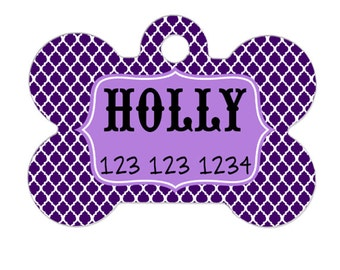 Purple Pet ID Tag - Royal Purple Quatrefoil Bone Dog dID Tag