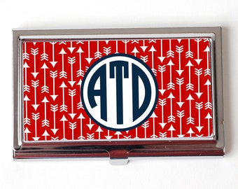 Monogram Business Card Holder - Personalized Business Card Holder - Red & Navy Blue Monogram Business Card Holder
