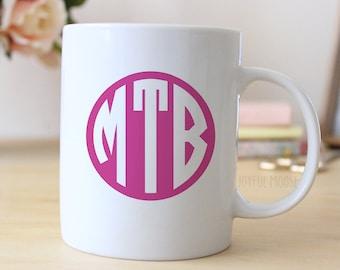 Monogram Mug -  Monogram Coffee Mug - Monogram Gift Idea - Pink Monogram Coffee Mug