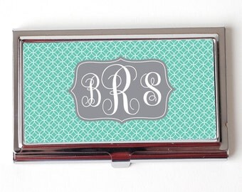 Monogram Business Card Case - Mint Monogram Business Card Holder - Circles Gray Silver Business Card Case