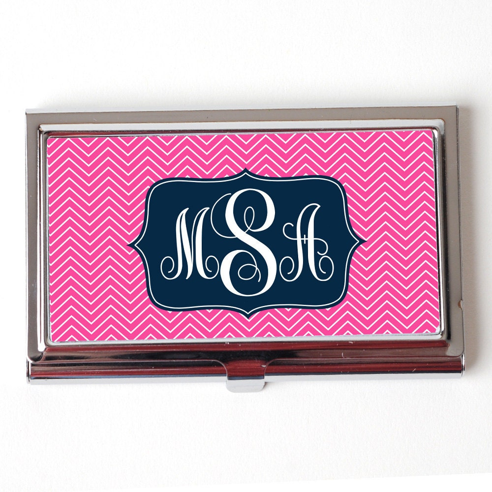 Monogram Business Card Holder Personalized Business Card